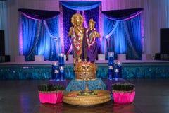 Indian Wedding Decor. Image of Hindu deities in front of mandap at an Indian wedding Stock Photo