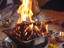 Indian Wedding Holy yagna Fire Royalty Free Stock Photography
