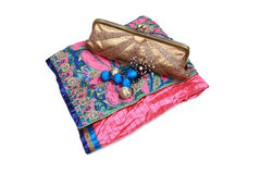 Indian wedding items. Saree and purse isoolated on white background Royalty Free Stock Image