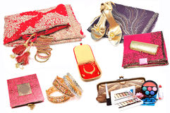 Indian wedding items. Beautiful shot of wedding items over white background Stock Image