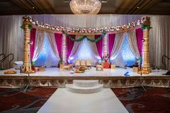 Indian wedding mandap with flowers and decor stock image