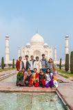 An Indian wedding party in front of the magnificen Royalty Free Stock Photography