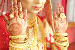 Indian wedding pattern on hands Stock Images