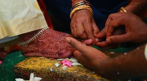South Indian wedding rituals, Indian wedding rituals of bride and groom with wedding background. Indian wedding rituals, South Indian wedding rituals of bride Royalty Free Stock Photography