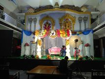 Indian wedding stage. Decorated Indian Hindu wedding stage stock image