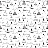 Indian wigwams black and white seamless background. Various wigwams, mountains and clouds Stock Image