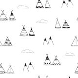 Indian wigwams minimalistic seamless background. Black and White Pattern. Wigwams, mountains and clouds Royalty Free Stock Images