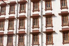 Indian windows on the facade in Rajasthan, India. Indian windows on the facade of the building in Pushkar, Rajasthan, India Royalty Free Stock Photography