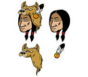 Indian And Wolf Head Cover. Vector illustration native American wear wolf head headscarf Royalty Free Stock Photos
