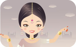 Indian Woman. In A Pink Dress, Wearing Jewelery Royalty Free Stock Photos