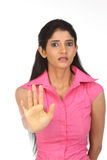 Indian woman in avoiding expression Royalty Free Stock Images