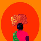 Indian woman. With a basket on a head Royalty Free Stock Image