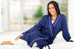 Indian woman bed Stock Photo