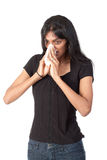 Indian woman blowing her nose Stock Photos