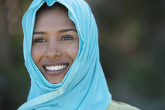 Indian Woman In Blue Headscarf Royalty Free Stock Photography