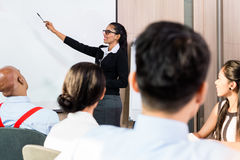 Indian woman at business presentation with team Stock Photos
