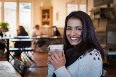 Indian woman cafe Stock Images
