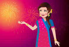 Indian Woman Celebrating a Festival Royalty Free Stock Photography