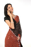 Indian woman with cell royalty free stock photos