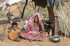 Indian woman and child in Pushkar. India Royalty Free Stock Photo
