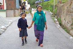 Indian woman and child, Sikkim, India Royalty Free Stock Images