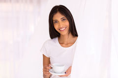 Indian woman coffee home Stock Image