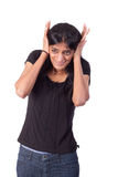 Indian woman covering her ears with her hands Royalty Free Stock Photos
