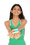 Indian  Woman with  credit card Stock Photo