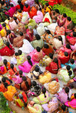 Indian woman crowd. Colorful woman crowd sitting in Sai Baba ashram in India, Andhra Pradesh, Puttaparthi Stock Photo