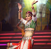 Indian woman dancer. BEIJING – JANUARY 31: Dancer performs on stage during Indian Music and Dance Show at Beijing Exhibition Theater on January 31, 2010 in Royalty Free Stock Image