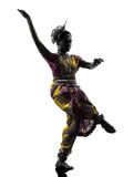 Indian woman dancer dancing  silhouette Stock Images