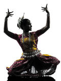 Indian woman dancer dancing  silhouette Royalty Free Stock Image