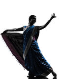 Indian woman dancer dancing  silhouette Stock Photo