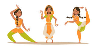 Indian woman dancing vector isolated dancers silhouette icons people India dance show movie, cinema cartoon beauty girl Stock Image