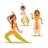 Indian woman dancing vector isolated dancers silhouette icons people India dance show party movie, cinema cartoon beauty Royalty Free Stock Images