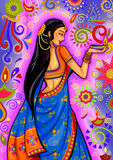 Indian woman with diya decoration for Diwali festival celebration in India. Vector design of Indian woman with diya decoration for Diwali festival celebration in