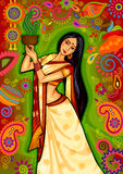 Indian woman doing dhunuchi dance of Bengal during Durga Puja Dussehra celebration in India. Vector design of Indian woman doing dhunuchi dance of Bengal during Royalty Free Stock Photo