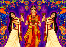 Indian woman doing dhunuchi dance of Bengal during Durga Puja Dussehra celebration in India Stock Photo
