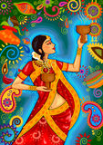 Indian woman doing dhunuchi dance of Bengal during Durga Puja Dussehra celebration in India Stock Photography