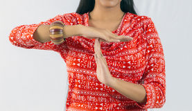 Indian woman doing Timeout Stock Photography