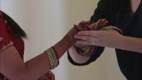 Indian woman dress on bracelet stock footage