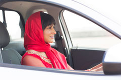 Indian woman driving Stock Photo