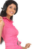 Indian woman enjoying music Royalty Free Stock Photos