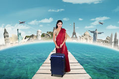 Indian woman with famous monuments royalty free stock photo