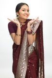 Indian woman with fine hands expression Royalty Free Stock Image