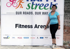 Indian woman in a fitness area of the event Stock Photos
