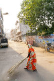Indian Woman of the fourth Caste cleaning the streets of Jaipur, India Royalty Free Stock Photos