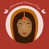 Indian woman front face greeting card for International Women`s Day Stock Photography