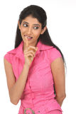 Indian Woman Gesturing for Quiet. Young Woman Gesturing for Quiet or Shushing Stock Photography
