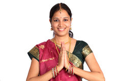 Indian woman greeting NAMASTE Stock Photos